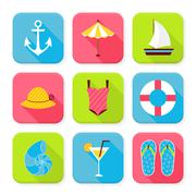 Flat Summer Holidays and Resort Squared App Icons Set Stock Illustration