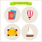 Flat Voyage Website Icons Set - stock illustration