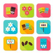 Flat Agriculture and Flowers Squared App Icons Set - stock illustration