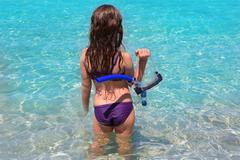 Aqua beach in ibiza formentera rear kid girl Stock Photos