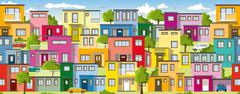 Modern colorful houses, also usable as a continuous background - stock illustration
