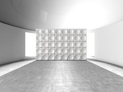 Abstract indoor futuristic indoor with acoustic wall - stock illustration
