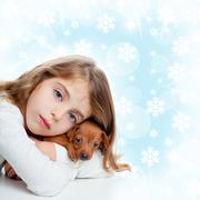 christmas children girl hug a puppy brown dog - stock photo