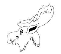 Silhouette moose muzzle Stock Illustration