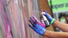 Up fest 2015 Bristol from 25th – 27th July: Graffiti Artist Painting Graffiti Stock Footage