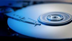 Inside a computer hard disk drive zoom in 7/15 Stock Footage