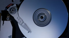 Inside a computer hard disk drive top view zoom in shot 8/15 Stock Footage