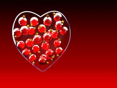 Christmas baubles heart shape in red and gold - stock illustration