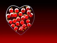 Stock Illustration of Christmas baubles heart shape in red and gold