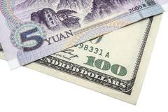 USD and Chinese Yuan - stock photo