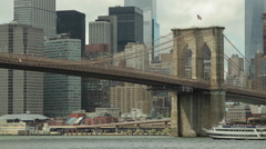 New York City downtown buildings skyline brooklyn bridge - stock footage