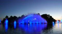 Musical floating fountain , light visual effect, show celebration  Stock Footage