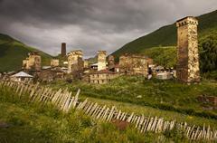 The village of Ushguli, Georgia - stock photo