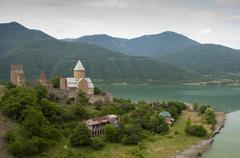 The castle and church of the Assumption,  Ananuri, Georgia - stock photo