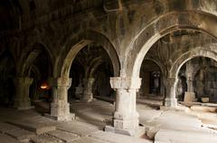 Interior of Sanahin monastery, Armenia - stock photo
