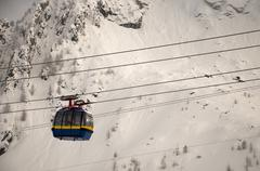Cable car in austrian ski resort - stock photo