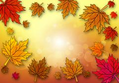 Yellow maple leaf on autumn background - stock illustration