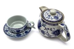 Chinese tea set with pot and cups - stock photo