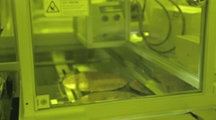 Silicon wafer testing in a Semiconductor manufacturing plant - stock footage