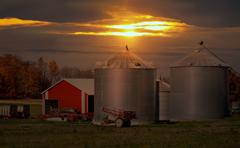 Farm sundown Stock Photos
