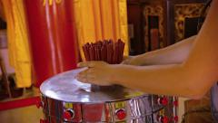 Buddhist Worshiper Uses Prayer Sticks inside Thean Hou Temple in Kuala Lumpur - stock footage