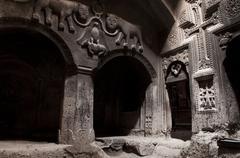Jhamatun or first rock-cut chamber of Geghard monastery, Armenia Stock Photos