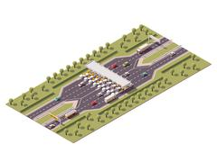 Vector highway toll gate - stock illustration