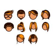 Hairstyle icon set - stock illustration