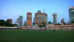 Kuala Lumpur's Beautiful and Unique Skyline from the Lawn of Merdeka Square Stock Footage