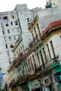 Havana, contrast of old and new houses - stock photo