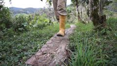 Man Rubber Boots Trail Low Angle Coming Stock Footage