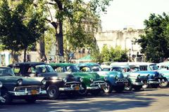 Havana, Cuba, old-timer parking in the shade Stock Photos