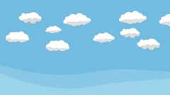 Animated Cartoon Blue Sky with White Clouds - stock footage