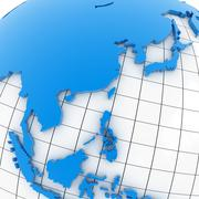 World map - Asia - stock illustration