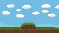 Animated Cartoon Cloudy Sky and a hills Stock Footage