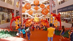 Hundreds of Red Paper Lanterns Hung in Patterns as Chinese New Year Decorations Stock Footage