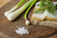 Sandwich with salted lard on rye bread - stock photo