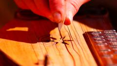 Playing on a zither SLOW-MO Stock Footage