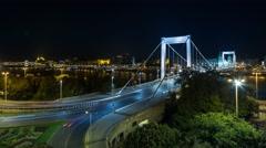 Elizabeth bridge by night in 4K Stock Footage