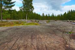 Landscape of Zalavruga - petroglyphs in Karelia Stock Photos