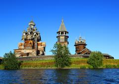 russian wooden architecture on Kizhi island - stock photo