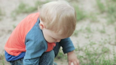 Child with barbecue grill Stock Footage