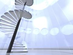 Stock Illustration of Futuristic round indoor with glass spiral staircase