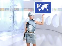 Futuristic children girl in silver touch finger world map Stock Photos