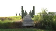 Beautiful view of a bridge near a pier. Stock Footage