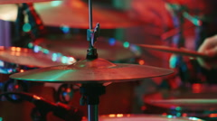 Plate drummer, drummer strikes the cymbals Stock Footage