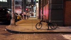 Dimly lit New York alley Stock Footage