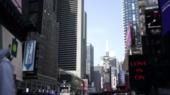 Busy Time Square with signs and bilboards Stock Footage