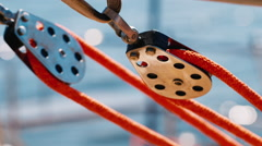 Yacht Rigging, block close-up Stock Footage