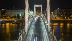 Close Up of Elizabeth bridge by night in 4K - stock footage